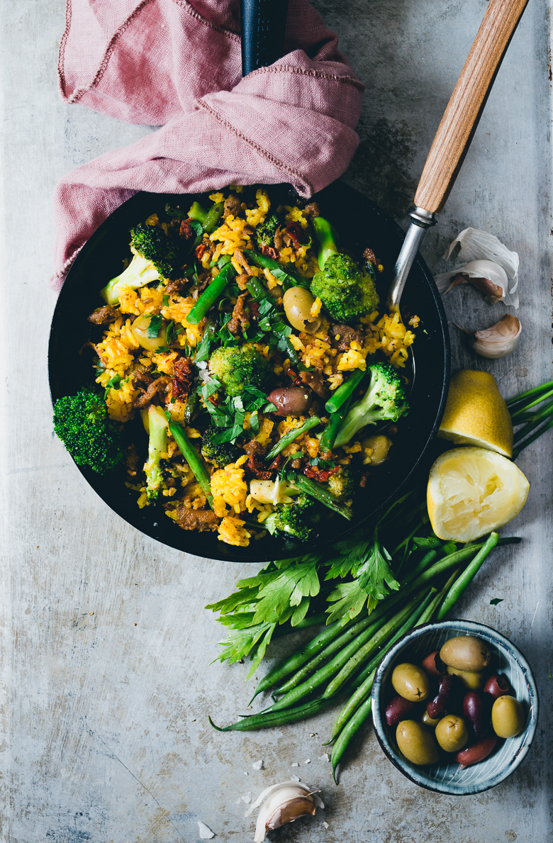Saffron Paella with Pulled Oats, Broccoli & String Beans | Cashew Kitchen