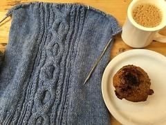 253/365: Coffee, Muffin, Knitting