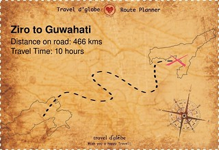 Map from Ziro to Guwahati