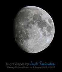 Waxing Gibbous Moon on 3 August 2017