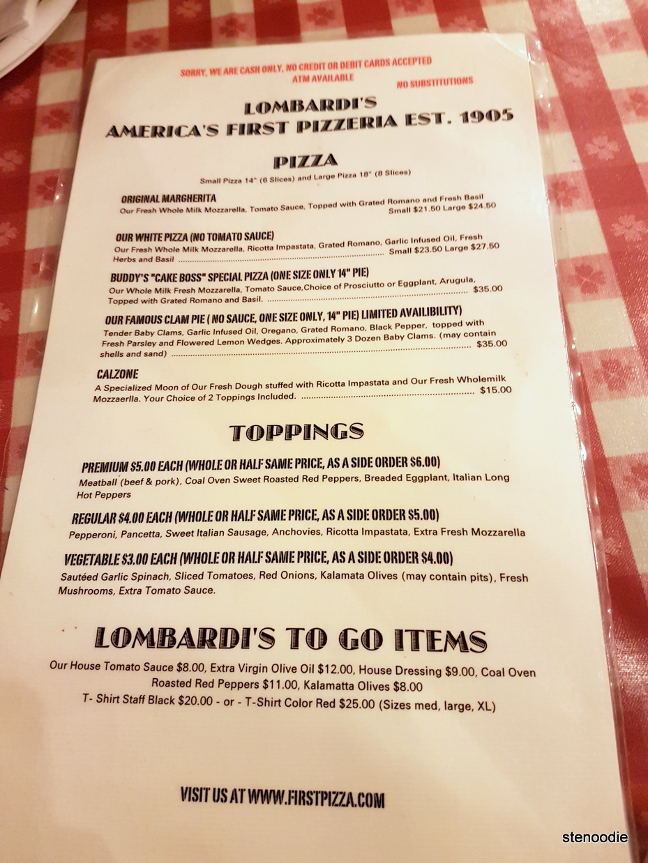 Lombardi 's Pizza menu and prices