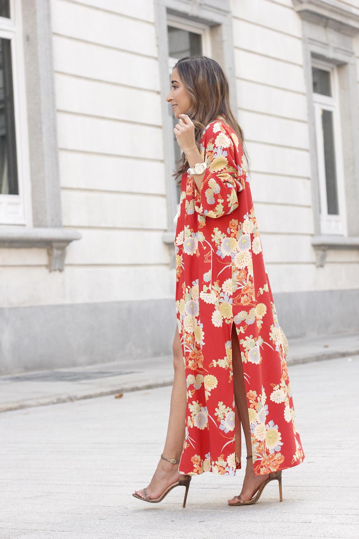 Flowered maxi kimono denim short heels summer girl style fashion10
