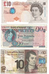 10 Pound Sterling notes from England, Northern Ireland, and Scotland