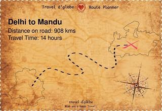 Map from Delhi to Mandu
