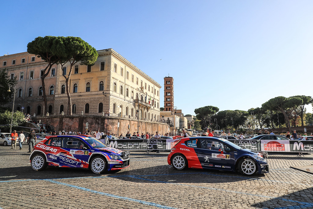 07 LOPEZ Jose Maria (ESP) ROZADA Borja (ESP) Peugeot 208 T 16 06 GRZYB Grzegorz (POL) BROWINSKI Bogusław (POL) Skoda Fabia R5 start during the 2017 European Rally Championship ERC Rally di Roma Capitale,  from september 15 to 17 , at Fiuggi, Italia - Photo Jorge Cunha / DPPI