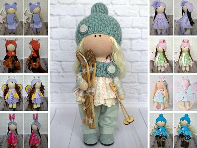 Ski Doll Fabric Doll Handmade Doll Nursery Doll Art Doll Baby Doll Green Doll Cloth Doll Textile Doll Muñecas Tilda Doll Rag doll Olga G