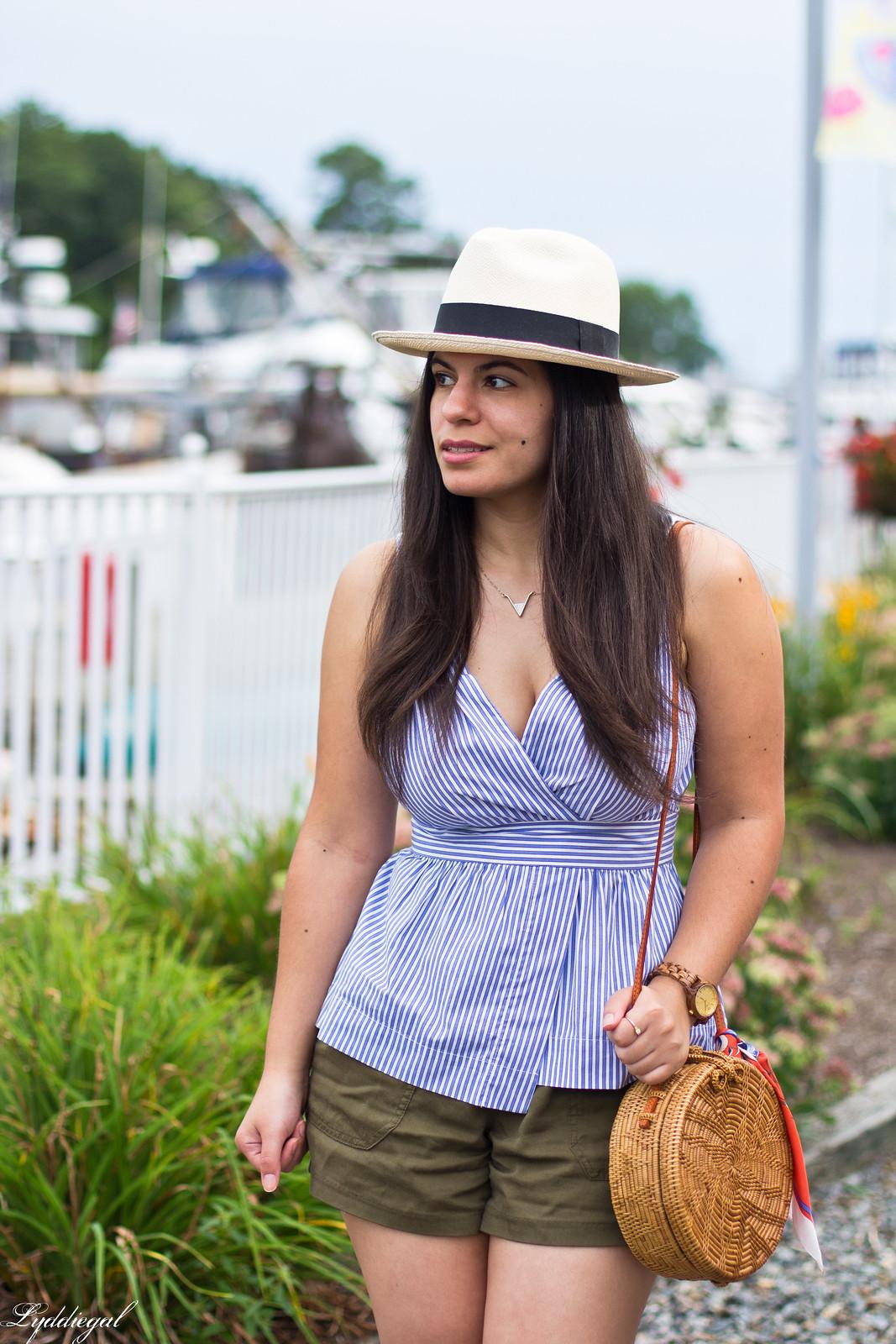 striped peplum top, shorts, panama hat, straw bag-2.jpg