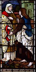Dorcas gives alms to the poor (Heaton, Butler & Bayne, 1870s)
