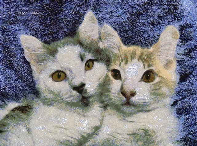 Bluefish & Greenfish Brother Kittens in the Style of Van Gogh