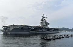 USS Ronald Reagan (CVN 76) departs Yokosuka, Sept. 8. (U.S. Navy/Ryo Isobe)