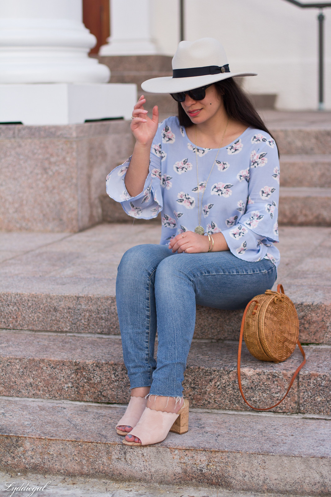 Floral bell sleeve blouse, raw hem jeans, scalloped mules, Goorin Bros. Lady Roulette Fedora