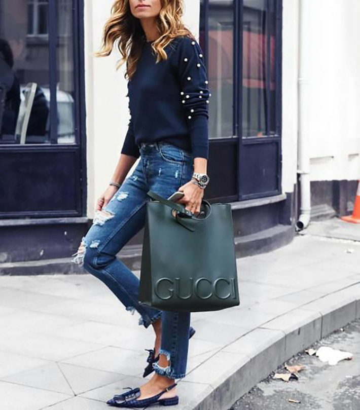 outfits with pearls for autumn denim heels street style fashion trend accessories1