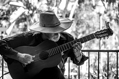 0246937237-92- Pickin Old Cowboy Songs in Balboa Park San Diego-4-Black and White
