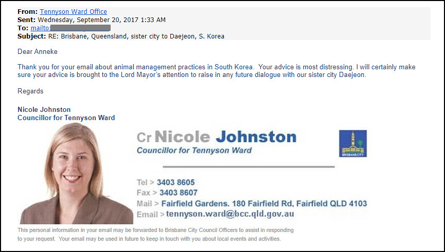 Response from Brisbane Councillor Nicole Johnston 092017