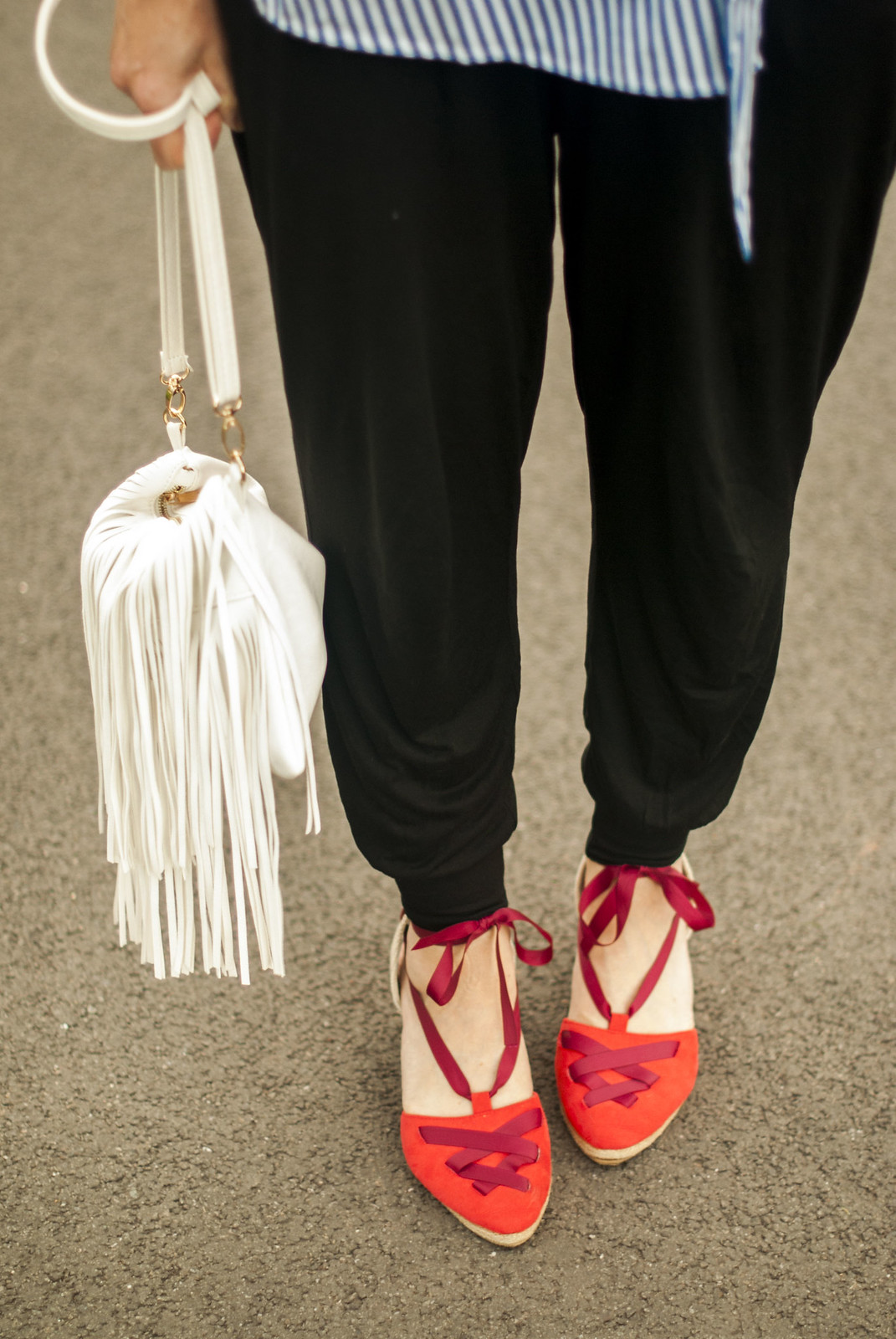 Brights basics for summer: Striped wrapover Mango blouse black harem pants gold 45 Asos necklace red wedge espadrilles white fringed crossbody bag | Not Dressed As Lamb, over 40 style