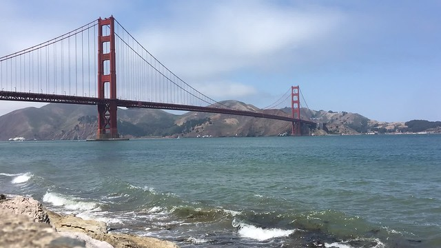 Golden Gate bridge waves
