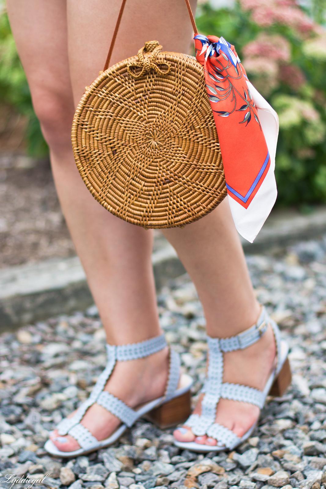 striped peplum top, shorts, panama hat, straw bag-6.jpg