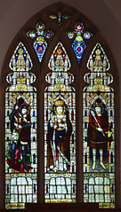 war memorial window: Christ in Majesty flanked by St George and St Edmund (Lavers & Westlake, 1920)