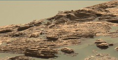 Layered Rocks and a Hazy Sky in Gale Crater