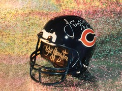 #1C-7, Sold $75.00, Autographed Mini Chicago Bears Helmet Bank signed By 8 Chicago Bears all with Picture Proof Photos, (P.P.P.),