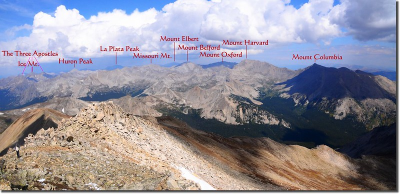 Looking Northwest from the summit of Mount Yale 1