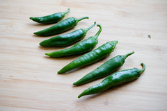 Green spicy peppers