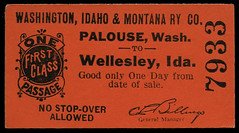Washington, Idaho & Montana Railway, Destination Wellesley, Idaho - Palouse, Washington