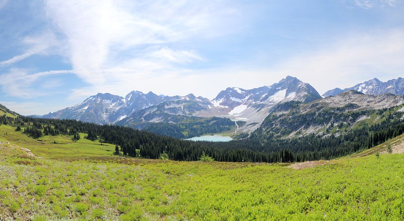 Panorama view of the Lyman Lakes basin from the southwest ridge of Cloudy Peak