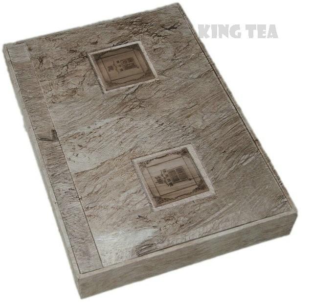 Free Shipping 2011 ChenSheng Cake + Brick QianKun Boxed 357g*2=714g YunNan MengHai Organic Pu'er Raw Tea Sheng Cha Weight Loss Slim Beauty