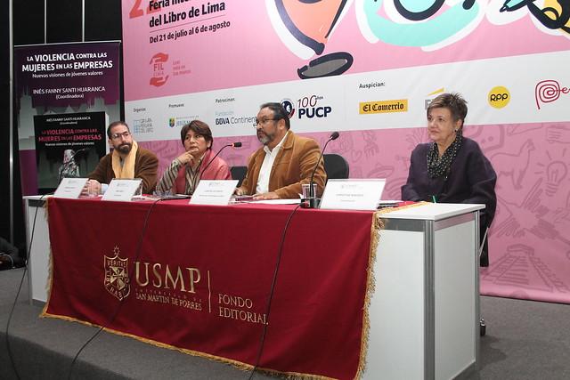 """""""La violencia contra las mujeres en las empresas. Nuevas visiones de jóvenes valores"""" publicado por el Fondo Editorial de la USMP fue presentado en la Feria Internacional  del Libro 2017"""