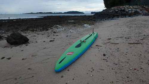 Stand up paddleboard with collected shells