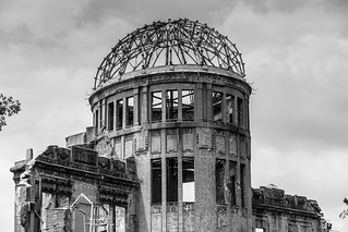 A-Bomb Dome under a grey sky.