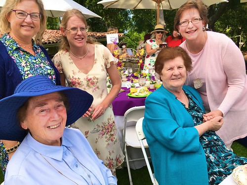 At the Afternoon Tea event - Standing (left-right): Cathy Gairdner (SSL Associate), her daughter Kelly, & Nancy Fellows Kalinowski (Cathy & Nancy are graduates of Louisville High, Class of 1973). Sitting: Patricia McGahan SSL (left) & Monica Quigley SSL