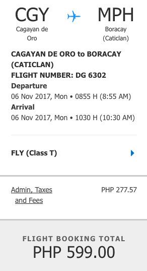 Cagayan de Oro to Boracay Nov 6, 2017 Promo