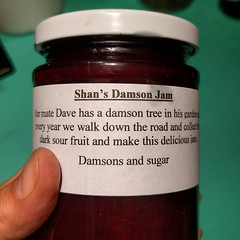 I'll probably never miss a chance to pick up home made Damson jam. Growing up with a garden of many plum trees, shop-bought is never as good. This one's brilliant. Found it on a stall outside ww2 bunker in Uxbridge. Thanks Shan :)