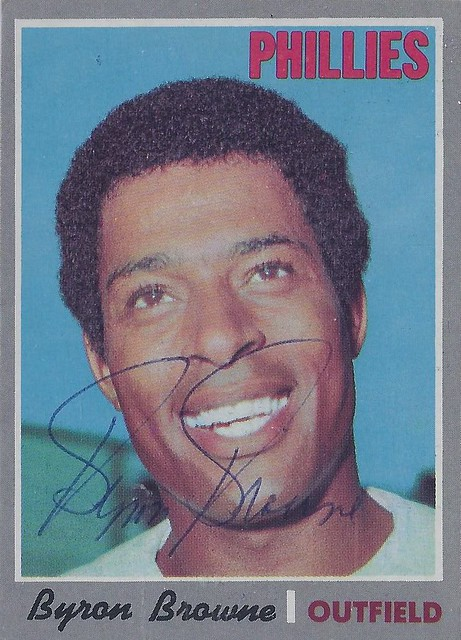 1970 Topps - Byron Browne #388 (Outfield) - Autographed Baseball Card (Philadelphia Phillies)