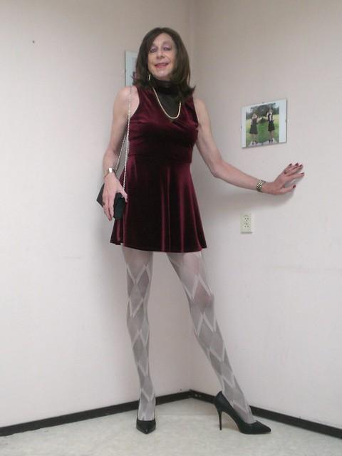 Dress and pantyhose.