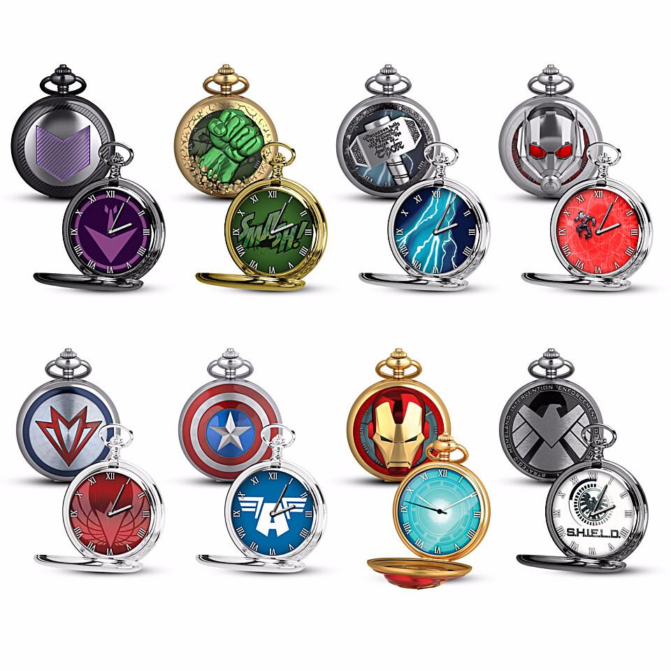 兼具英雄的硬派和紳士的氣質~~Bradford Exchange【漫威復仇者懷錶】Marvel Avengers Pocket Watch Collection