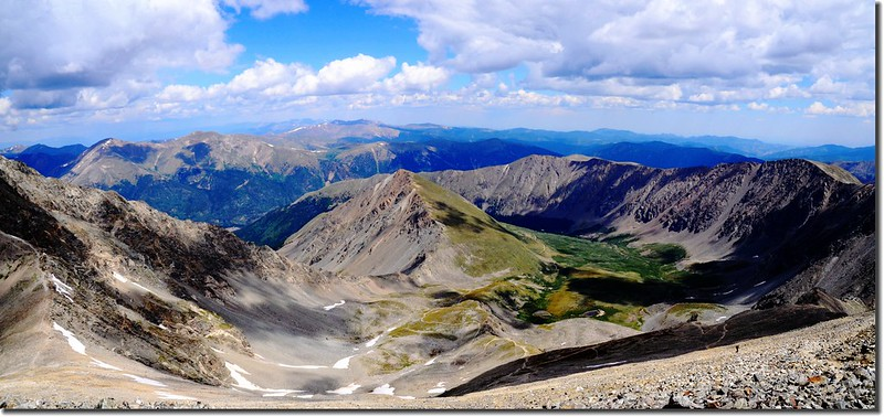 Looking down at Stephens Gulch from Grays Peak's summit