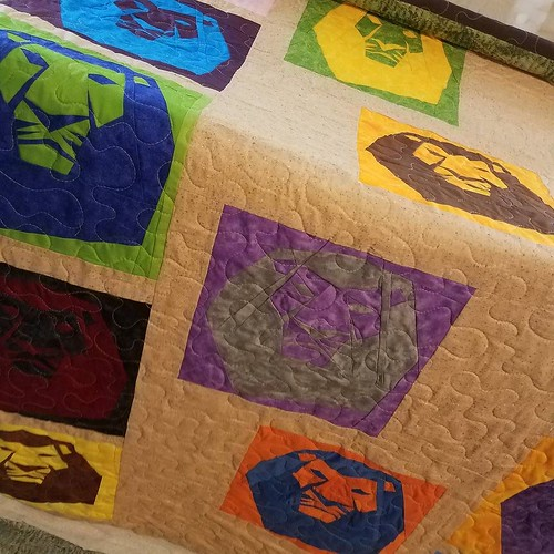 #lionking quilt 2, quilted and ready to trim and bind for @thelinusconnection. Blocks made by the @fandominstitches Facebook group. Designed, pieced, and quilted by me. #quiltforgood #quiltsforharvey #quiltsfortexas