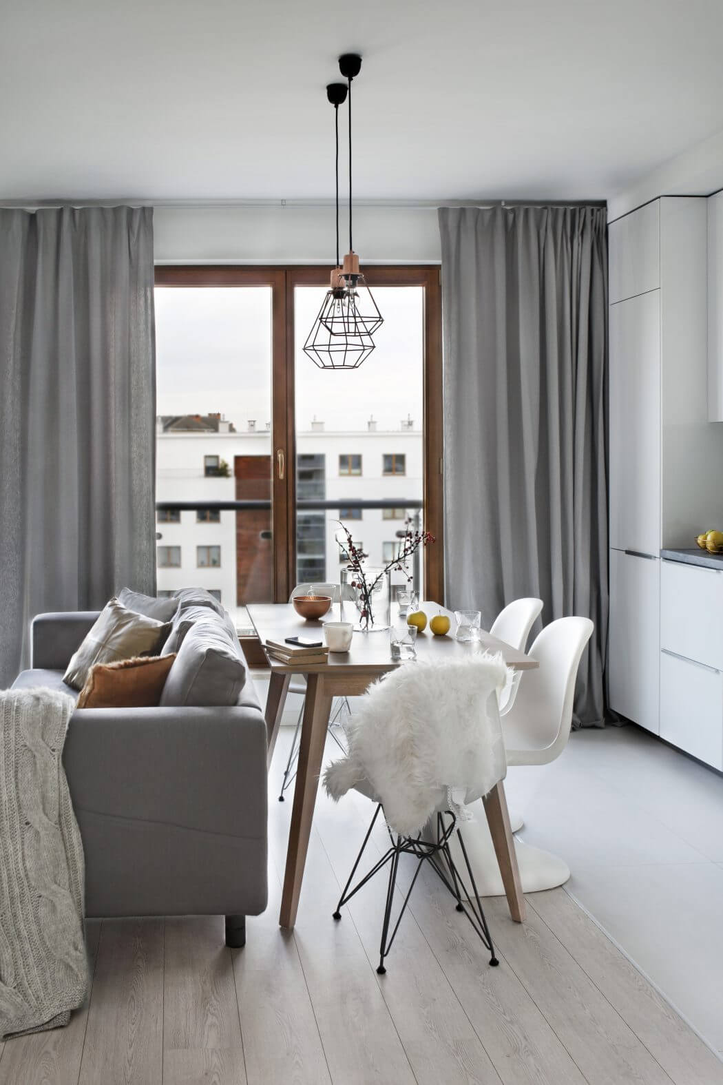 Scandinavian Gray Apartment Curtains Neutral