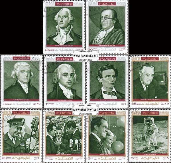 Známky Fujeira 1970 Americké politické osobnosti, razená séria
