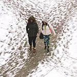 Winter Students Sidewalks 150 x 150