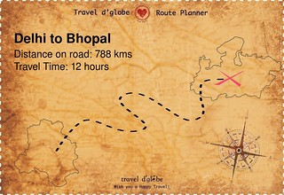 Map from Delhi to Bhopal