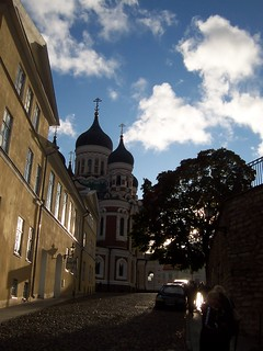 Tallinn - view towards Russian Orthodox cathedral at sunset