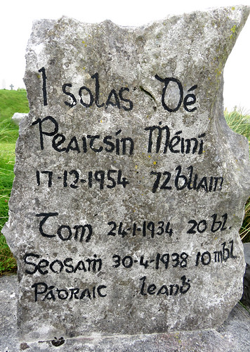 Tombstone in the cemetery on the Aran Island of Inisheer in Ireland