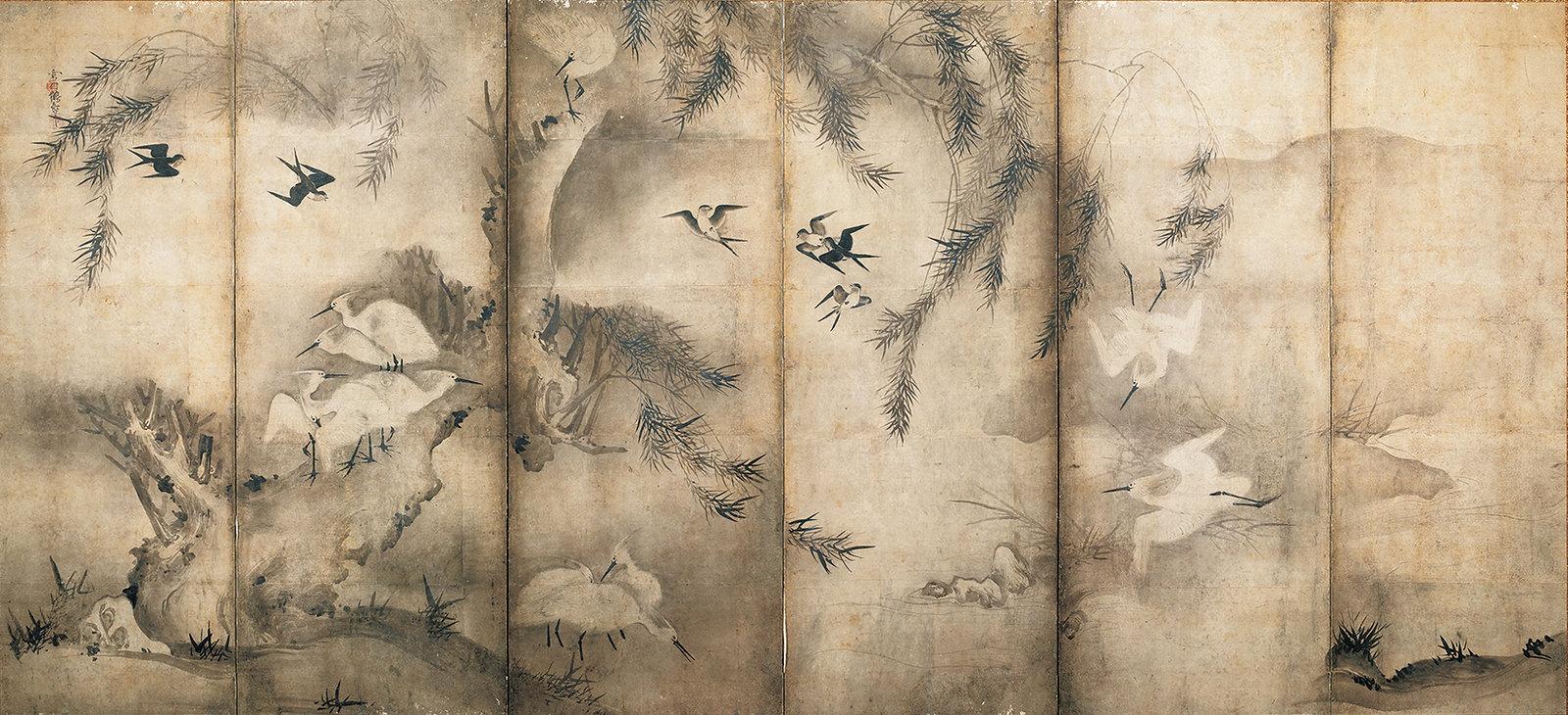 《花鳥図屏風(左隻)》(室町時代、ミネアポリス美術館、全期間)