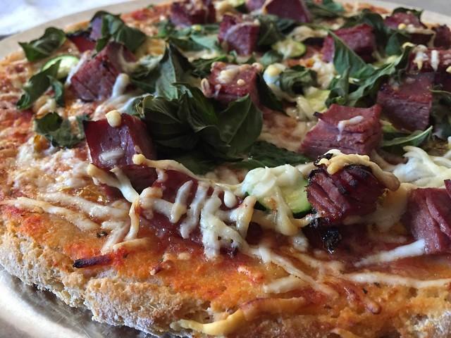 Pastrami/Eggplant/Zucchini Pizza