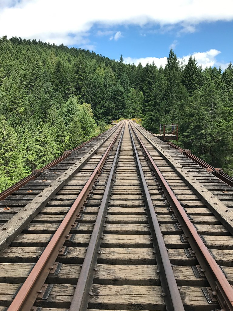 View across the trestle bridge in Goldstream Provincial Park