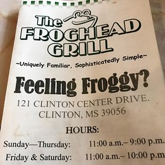The Froghead Grill seems to be the place to be for dinner in Clinton, MS. The local favorite. #frogheadgrill